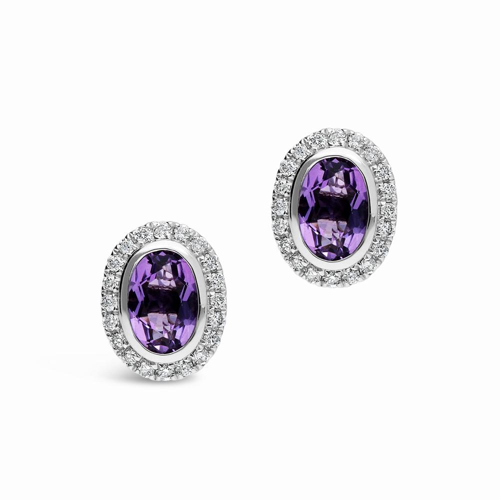 9ct White Gold Diamond Amethyst Stud Earrings