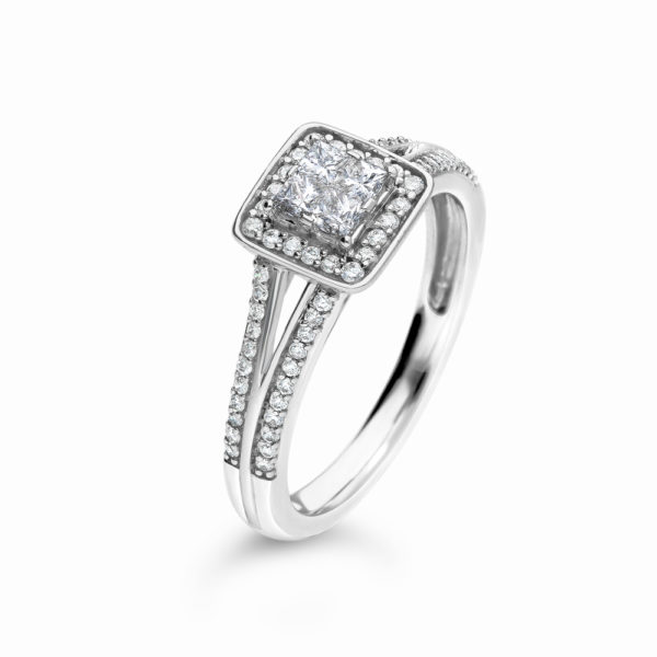 9ct White Gold 0 40ct Diamond Princess Cut Cluster Halo Ring