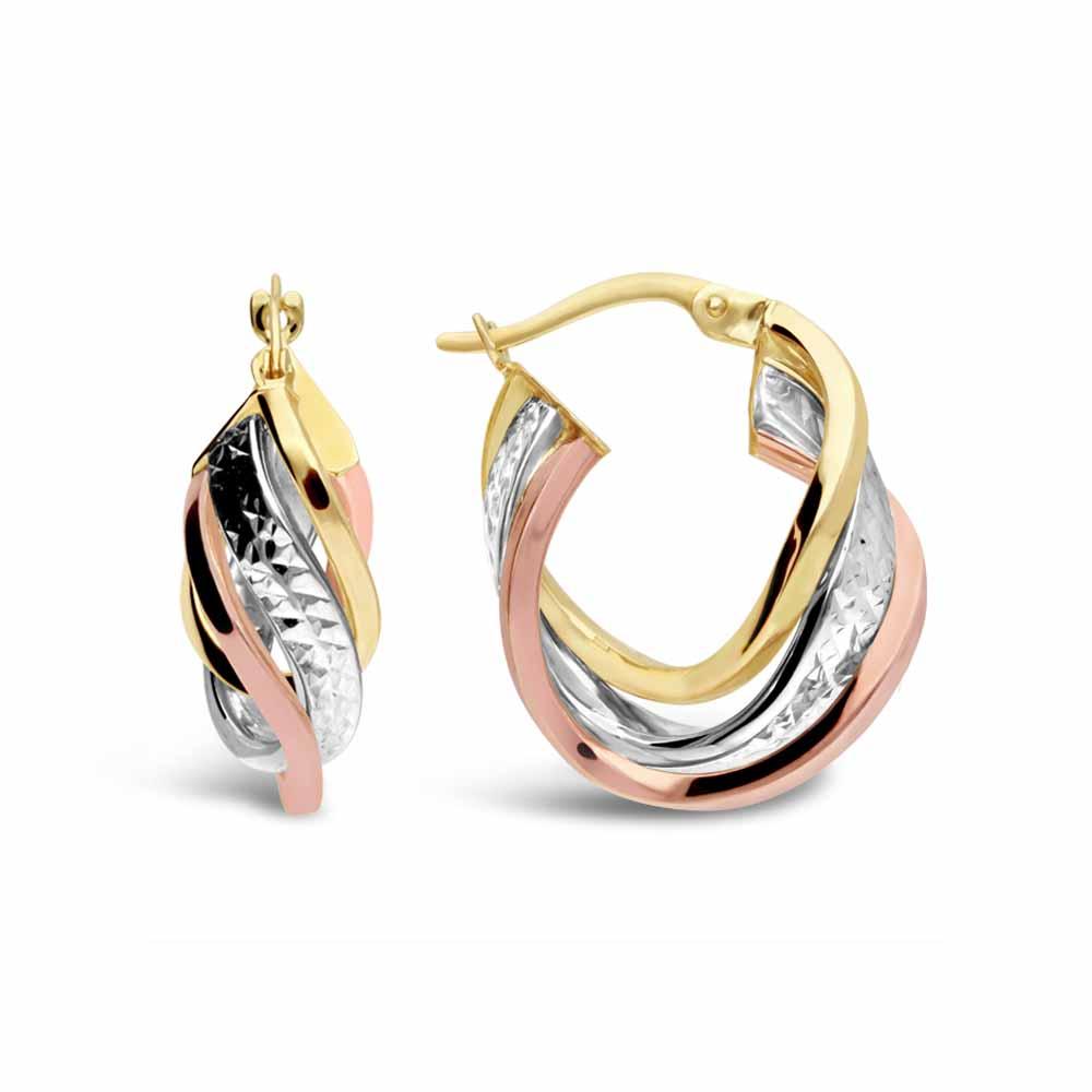 Gold diamond cut hoop earrings 9 carat yellow